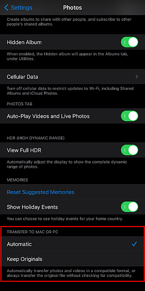 Iphone photos settings with the transfer to mac or pc setting highlighted