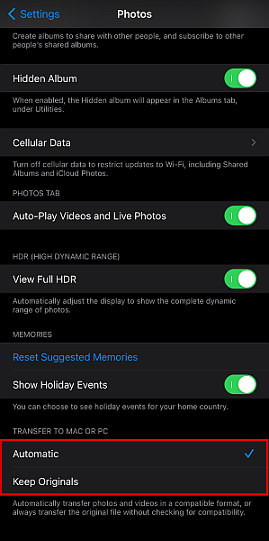 Iphone photos settings with the transfer to mac or pc option highlighted