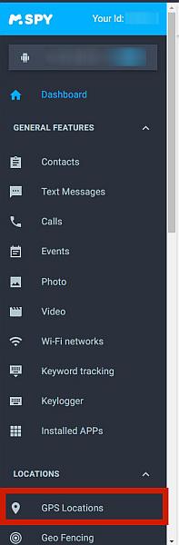 Mspy main menu with the GPS Location option highlighted