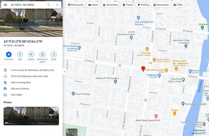 Google maps screen shot of an address in Church St, Watertown, WI