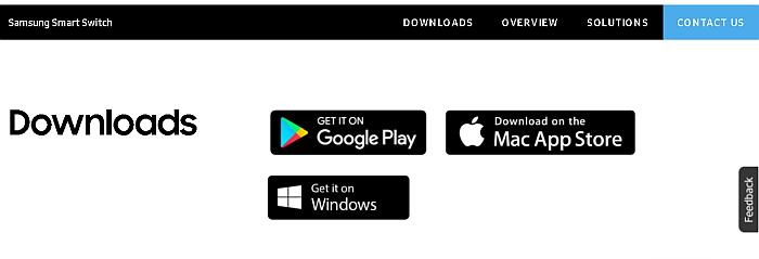 Samsung swart switch downloads web page