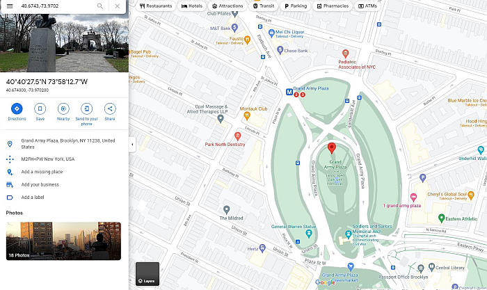 Screen shot of a google map for Grand Army Plaza in Brooklyn, NY