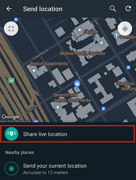 Whatsapp live location sharing with the share live location button highlighted
