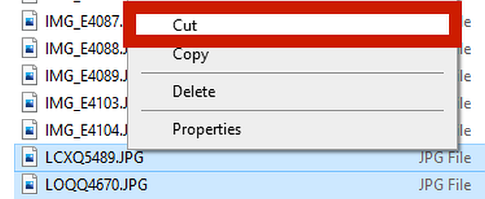 Saved photos in the DCIM folder with cut action option highlighted