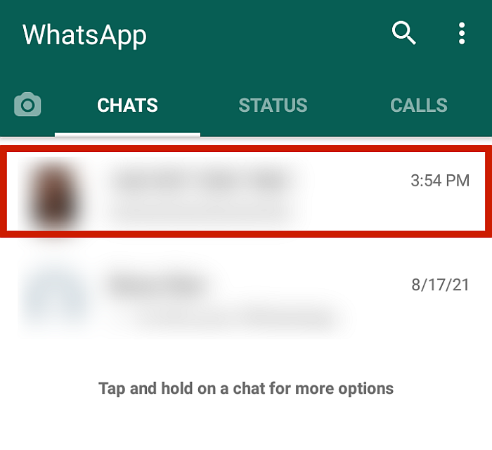 Whatsapp with a chatbox highlighted