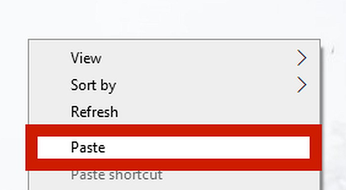 A screen capture of the right click menu with the paste option highlighted