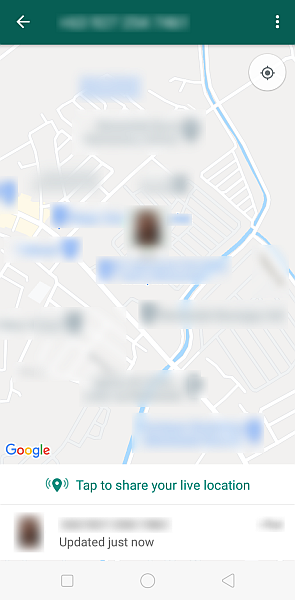 Map of the live location being shared as seen in whatsapp