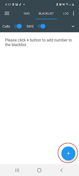 Calls blacklist app blacklist tab with the plus icon highlighted