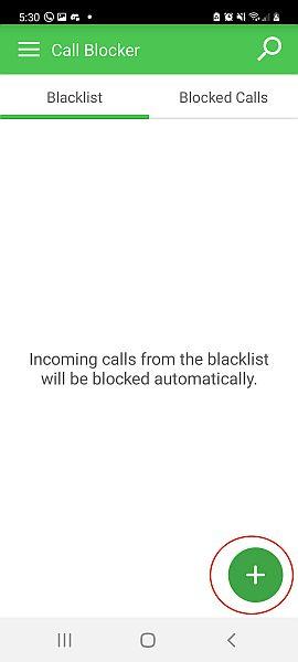 Call blocker interface showing an empty blacklist tab