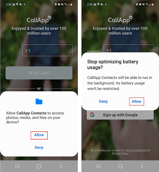 Setting callapp access permissions in samsung phone