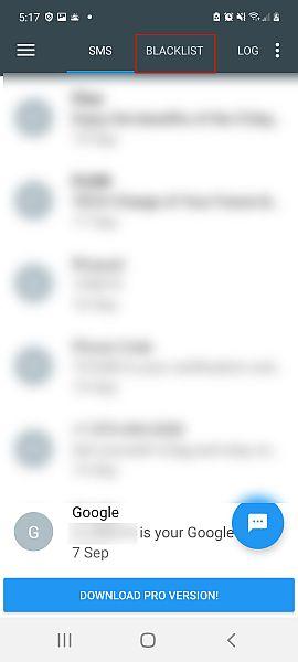 Call blacklist interface with the blacklist tab highlighted