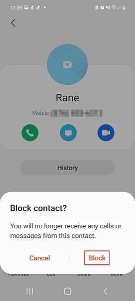 Block contact pop up message in samsung phone with the block button highlighted