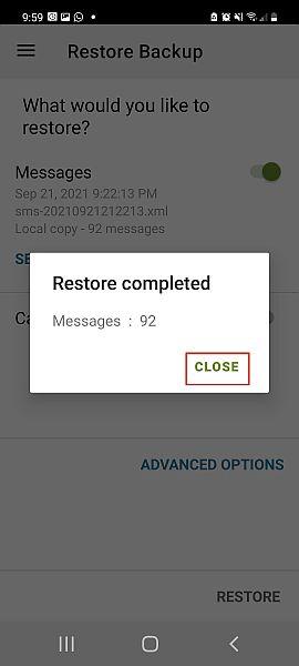 Sms back up and restore app pop up notification for completed back up restoration