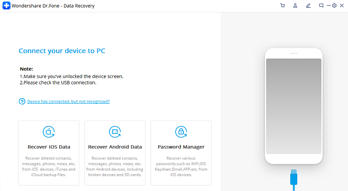 Dr. Fone data recovery interface in pc