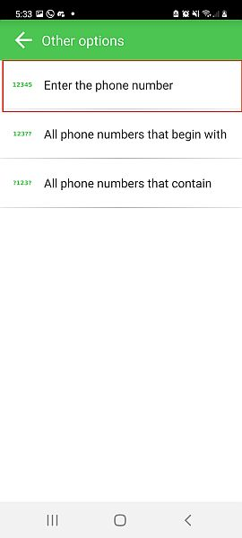 Other options in creating new entry in blacklist for call blocker app with the enter the phone number option highlighted