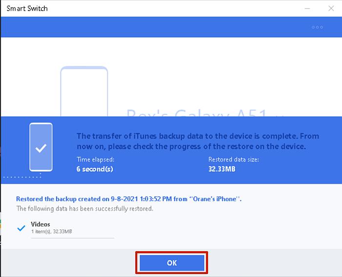 Samsung smart switch backup data restoration complete screen