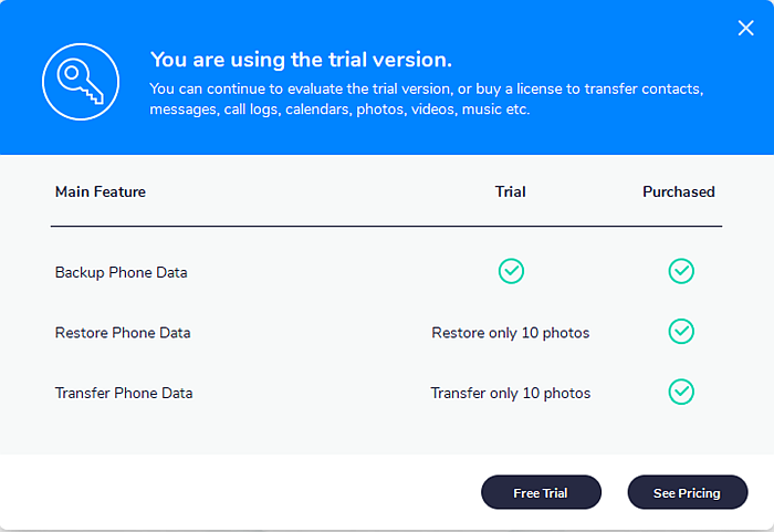 Mobiletrans Feature comparison page for Trial and Purchased version