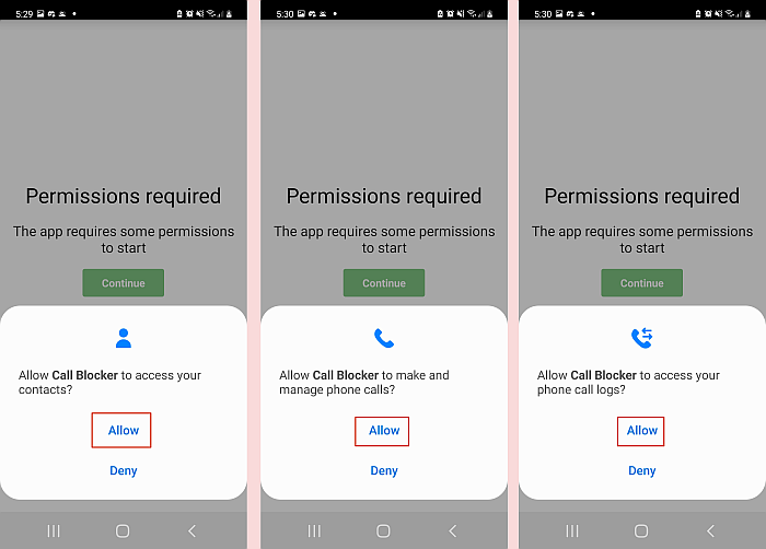 Granting access permission to call blocker app in android phone