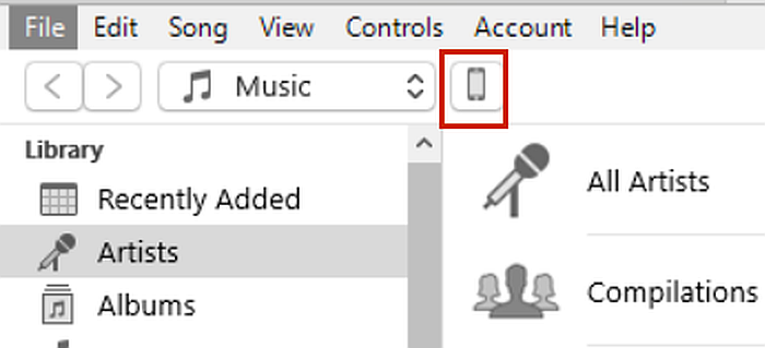 Iphone summary icon in itunes app on desktop computer