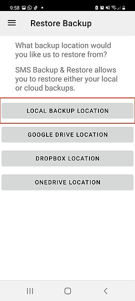 SMS restore and back up app restore backup tab with the local backup location option highlighted