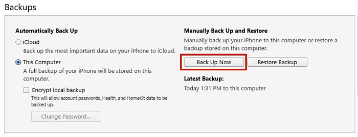 Iphone summary back up section in itunes with the back up now button highlighted