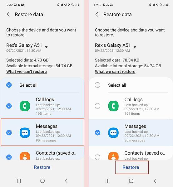 Back up messages data restoration in samsung phone