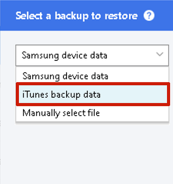 Dropdown options for samsung smart switch back up to restore selection