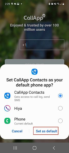 Callapp pop up in android asking to set callapp as a default phone app