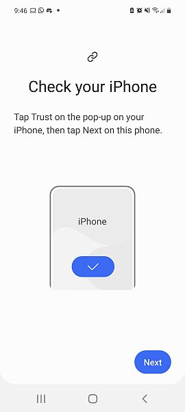 Check your Iphone notification screen on samsung smart switch app