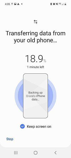 Samsung smart switch data transfer progress screen