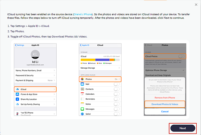 Mobiletrans instructions and illustrations to turn off icloud on source device