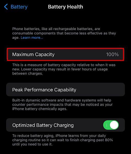 iPhone battery health settings
