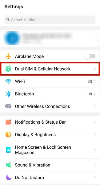 Android phone settings with the dual sim and cellular network option highlighted