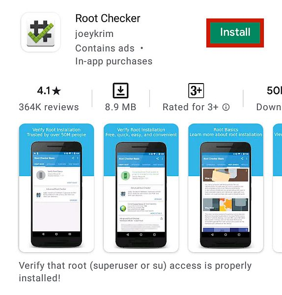 Root checker app details page in google play
