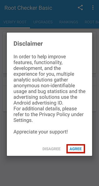 Root checker popup disclaimer notice