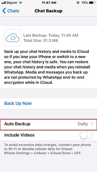 Chat backup settings in whatsapp for ios with the auto backup option highlighted