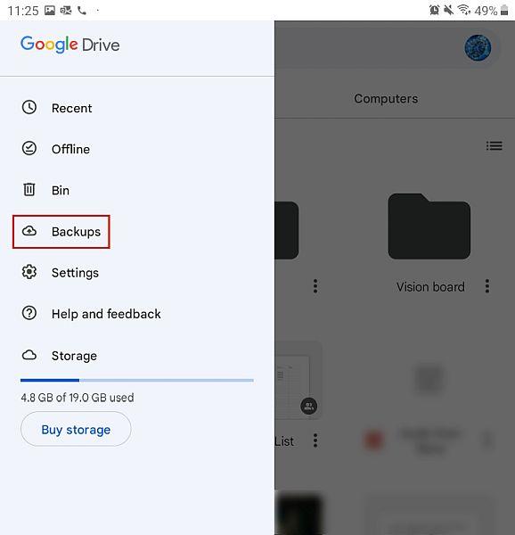 Google drive sidebar menu on android