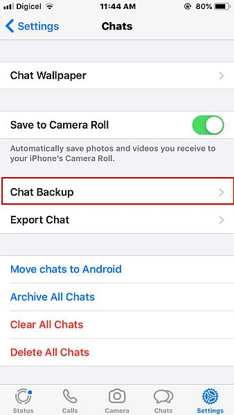 Chats settings in whatsapp for ios with the chat backup highlighted