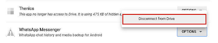 Disconnect from Drive button highlighted in google drive list of connected apps
