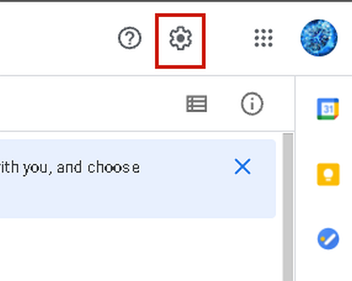 Screen capture of a portion of google drive app in desktop with the gear icon highlighted