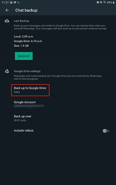 Chat backup settings for whatsapp for android with the backup to google drive option highlighted