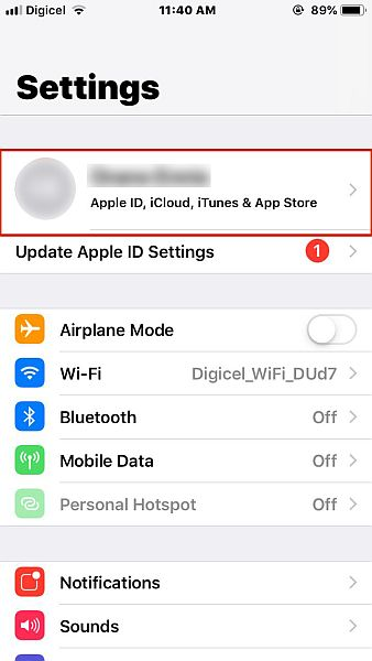 Iphone settings with the profile option highlighted