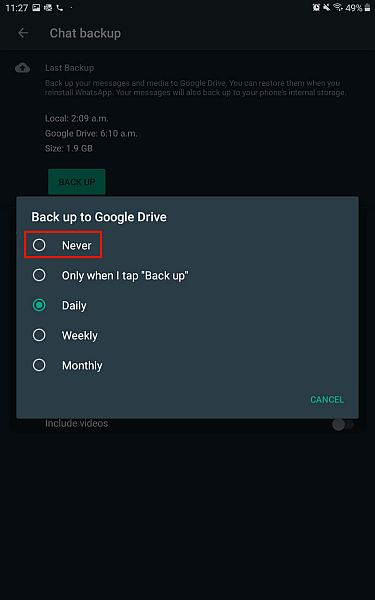 Backup to google drive options in whatsapp for android