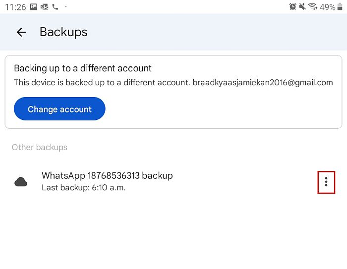 Backups folder in google drive