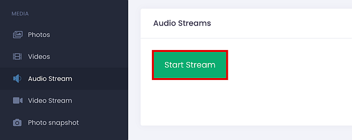 Umobix Audio Stream feature with the start stream button highlighted