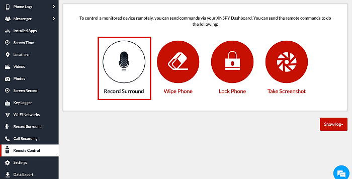 Xnspy remote control feature with the record surround option highlighted